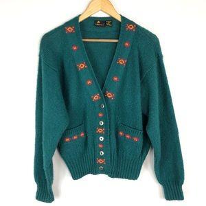 LizSport Shetland Wool Aztec Cardigan
